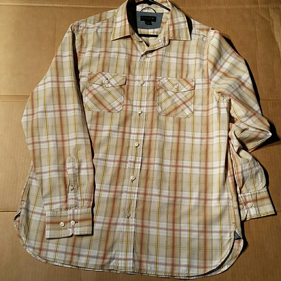 Banana Republic Other - Banana Republic Tan Plaid Shirt. L